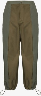contrast panel drawstring trousers