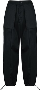 side panel detail trousers - Black