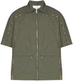 piped-trim detail shirt - Green