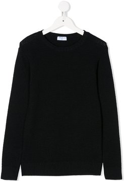 knitted crew-neck jumper - Blue
