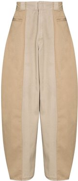 two-tone wide-leg trousers - Neutrals