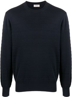 ribbed crew neck jumper - Blue