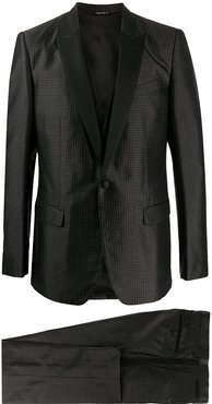polka dots three-piece dinner suit - Black