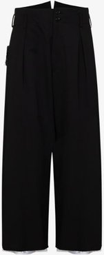 Garbadine wool cropped trousers