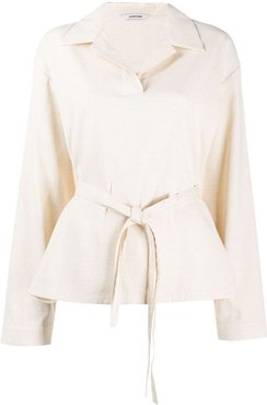 open-collar tie-waist shirt - NEUTRALS