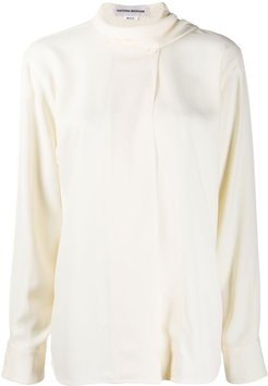 scarf neck blouse - Neutrals