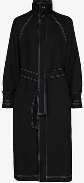 contrast stitching long belted coat