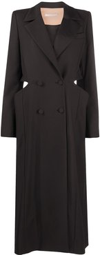 double-breasted cut-out coat - Black