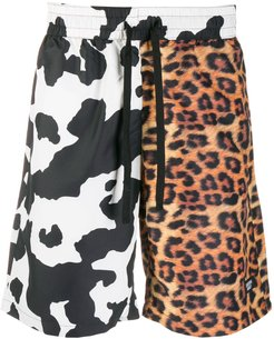 cow and leopard print shorts - Black