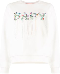 floral embroidered logo sweatshirt - White