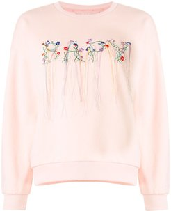 embroidered floral logo sweatshirt - PINK