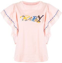 floral embroidered logo T-shirt - PINK