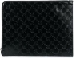 embossed logo leather clutch - Black