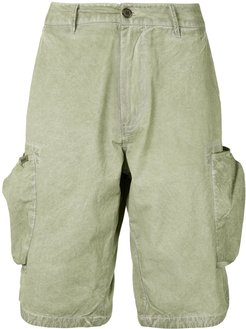 crinkled effect multi-pocket cargo shorts - Green