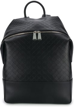 woven detailed leather backpack - Black