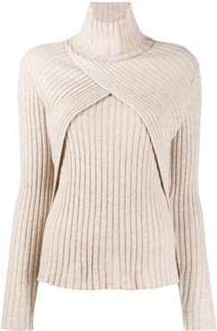 wrap-effect turtleneck jumper - NEUTRALS