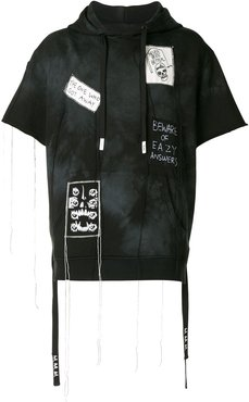 embroidered patchwork hoodie - Black
