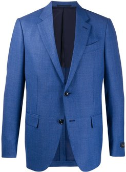 single-breasted fitted blazer - Blue