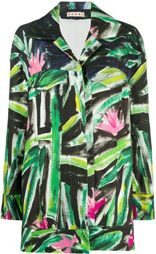 painted floral print coat - Green