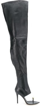 thigh-high open toe boots - Black