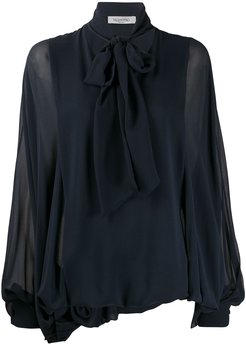 pussybow pouf sleeve blouse - Blue