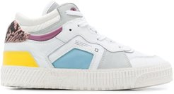 high-top contrast panel sneakers - White