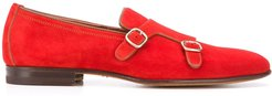 buckled low-heel monk shoes - Red