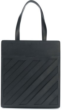 diagonal formal tote bag - Black