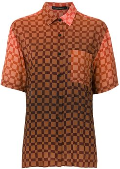 checked short sleeves shirt - Red