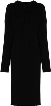 cut-out knee-length sweater dress - Black