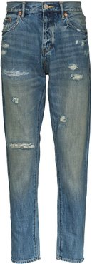 distressed straight-leg jeans - Blue