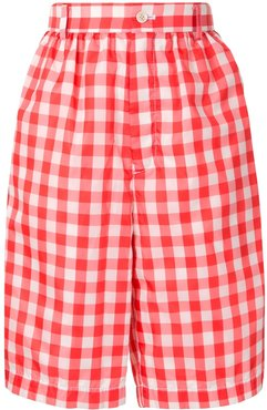 gingham checked knee-length shorts - Red