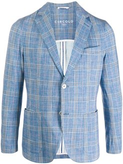 check print tailored blazer - Blue