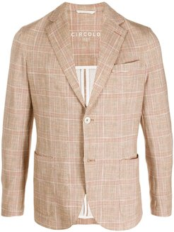 check print tailored blazer - Brown