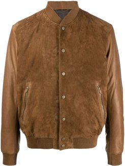 suede-panel bomber jacket - Brown