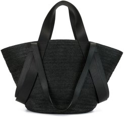 braided tote bag - Black