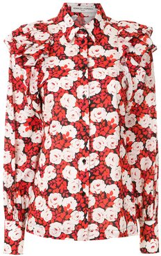floral print long sleeved shirt - Red