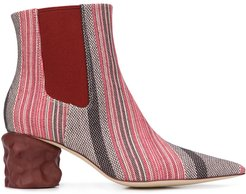 Juanita 60mm striped boots - Red