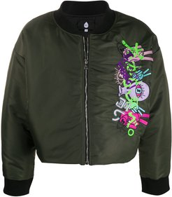 embroidered zip-up bomber jacket - Green