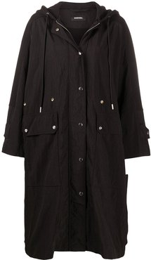crinkled parka coat - Black