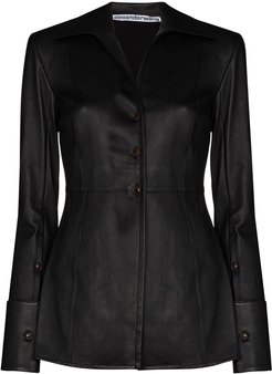 fitted leather blazer - Black