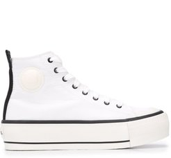 Flatform lace-up sneakers - White
