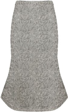 knitted brushed bouclé bell skirt - Grey