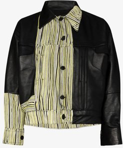 X Homecoming stripe panelled leather jacket