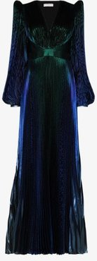 Pouf sleeve pleated gown