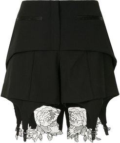lace detail fitted shorts - Black