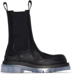 BV tire leather Chelsea boots - Black