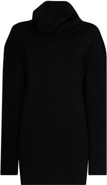 long roll neck jumper - Black