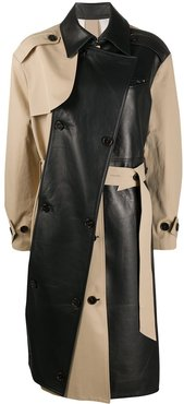 two-tone leather trench coat - Black