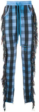 fringe-trim checked trousers - Blue